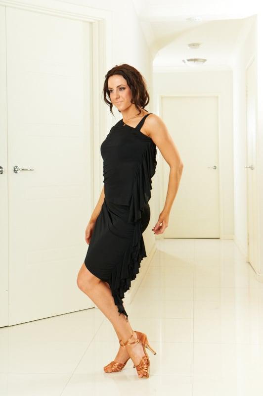 Image of Ruffled Top - Black E1313 Dancewear latin ballroom