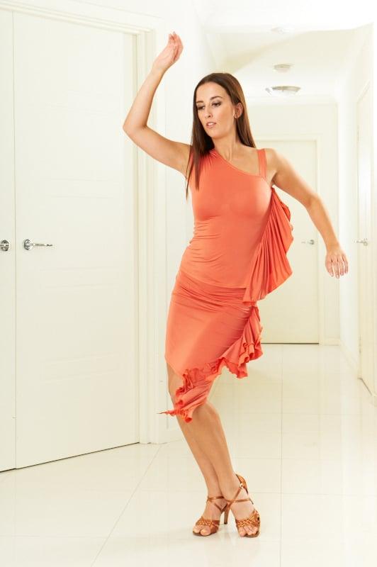 Image of Ruffled Top - Orange E1313 Dancewear latin ballroom