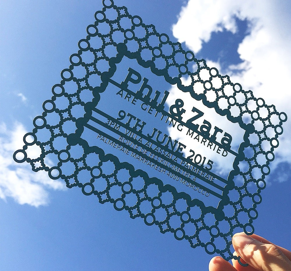 Image of Laser cut Invitations {Honeycomb, Geometric, Moroccan, Names}