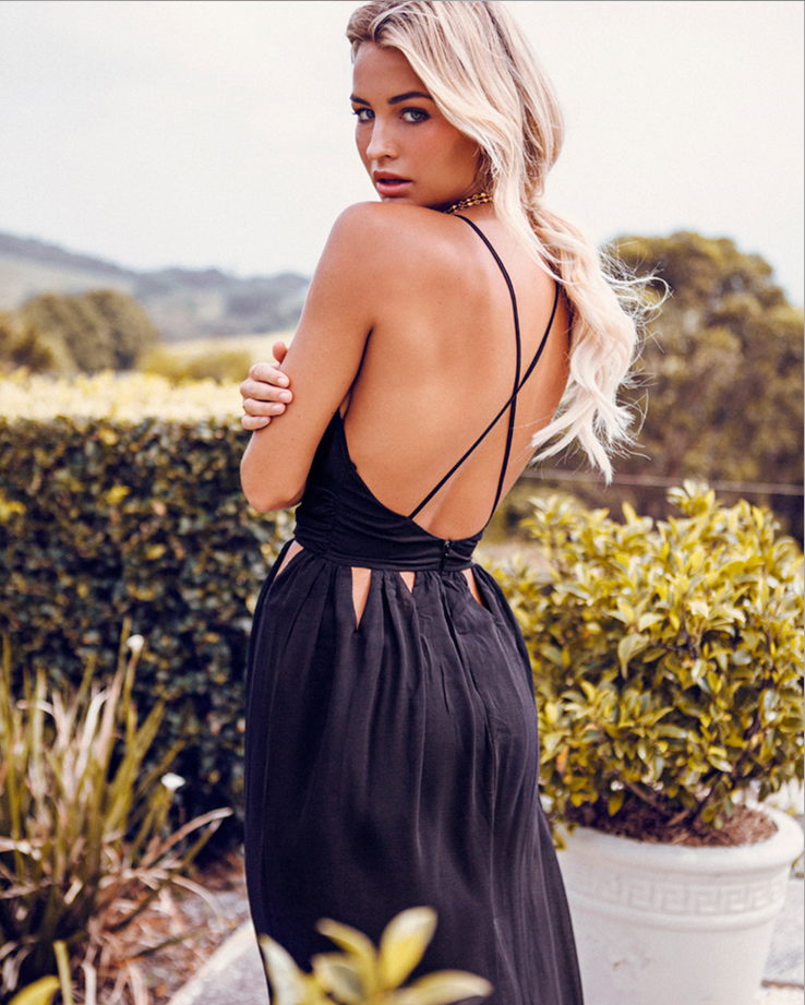 Image of Sexy waist hollow out the harness backless dress