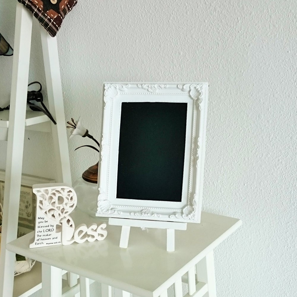 Image of Small White Chalkboard with Stand (Use Liquid Chalk marker and regular chalk)