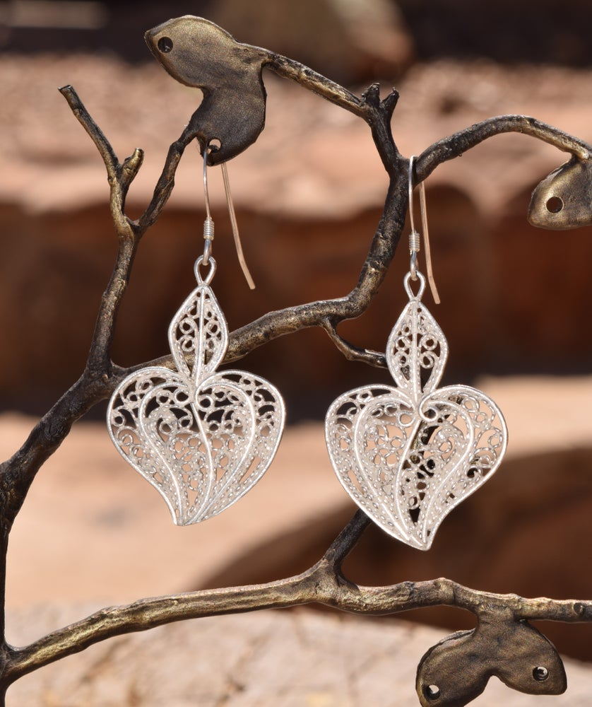 Image of Filigree Sacred Heart Earrings