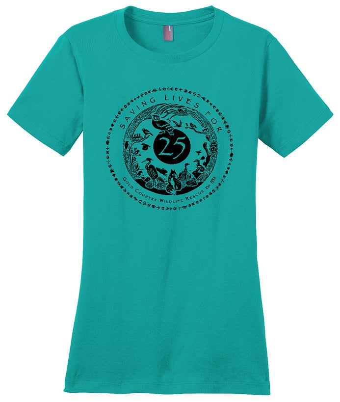 Image of Ladies Crew Neck T-Shirt with Special GCWR 25th Anniversary Logo- Jade