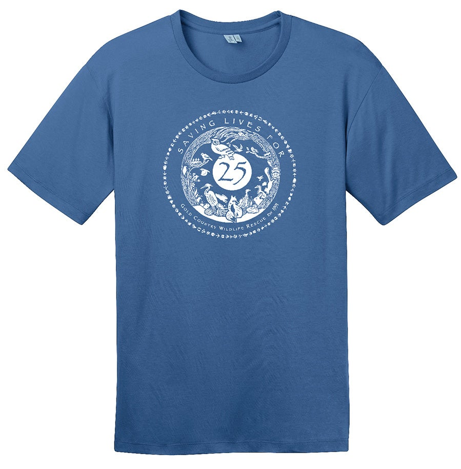 Image of Mens Crew Tee with GCWR Special 25th Anniversary Logo- Maritime Blue