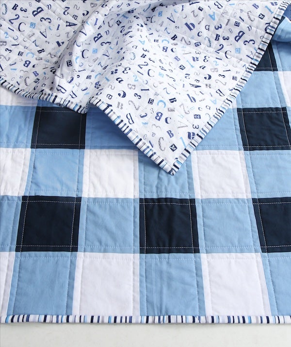 Navy Blue And White Gingham Baby Child Quilt Beech Tree