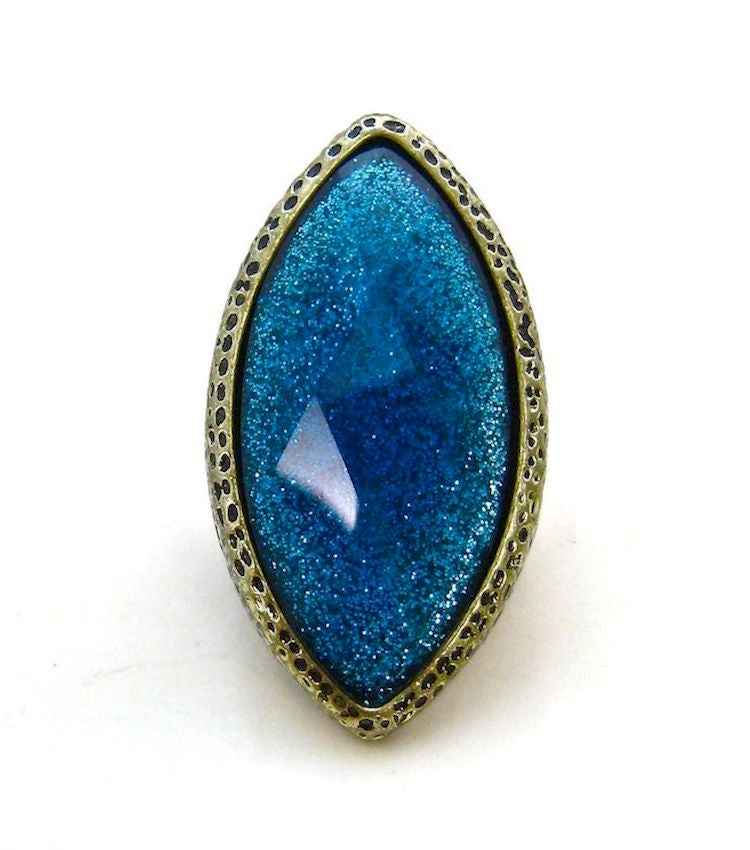 Image of Large Metallic Diamond Stone Ring (More Colors)