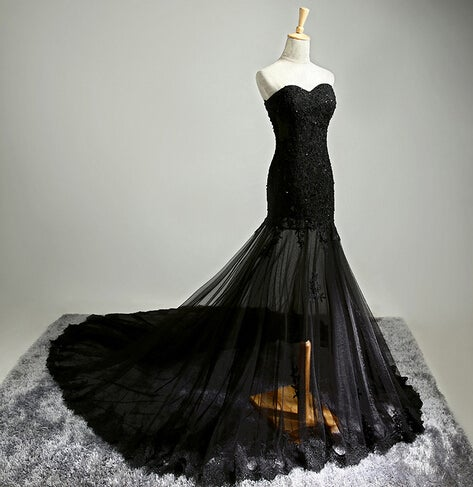 Glam Black Handmade Tulle Prom Gown with Lace Applique, Prom Gowns