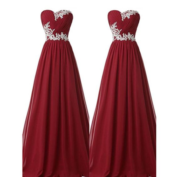 2103651cb08 Image of Pretty Simple Burgundy Long Chiffon Prom Dresses