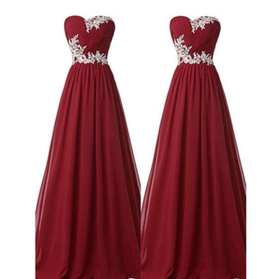 Pretty Simple Burgundy Long Chiffon Prom Dresses, Wine Red Prom Dresses, Evening Dresses