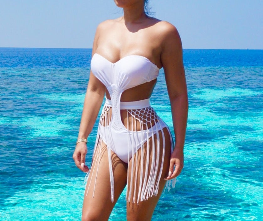 ba568b232d Image of Rome Monokini. White Monokini with structured bra and side cut outs.  -Off White Fringe belt with gold ...