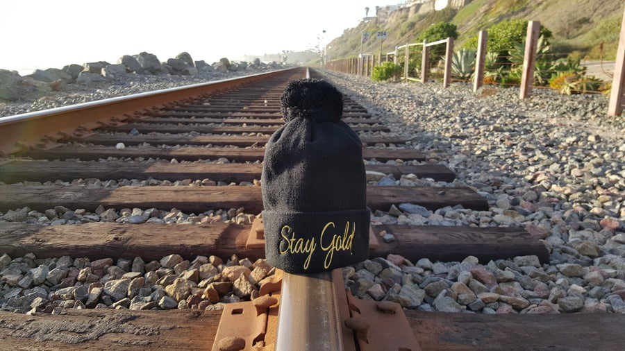 Image of Stay Gold Pom Pom Beanie