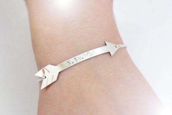 Image of Gold or Sterling Silver or Rose Gold Arrow Bracelet - Personalize Arrow Bracelet