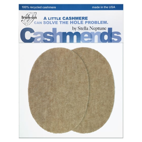 Image of IRON-ON CASHMERE OVAL ELBOW PATCHES - Oatmeal