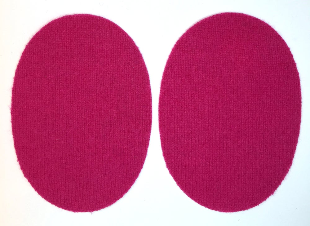 Image of Iron-On Cashmere Elbow Patches - Dark Pink Ovals