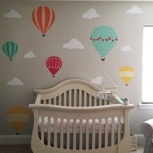 Image of Colourful Hot Air Balloon Wall Decal M081 Kids Baby Nursery