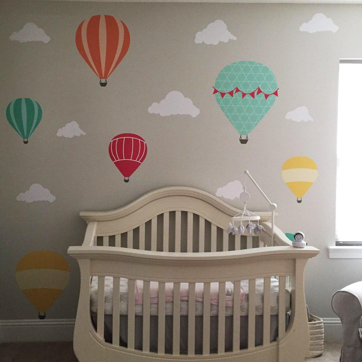 Colourful Hot Air Balloon Wall Decal M081 Kids Baby Nursery