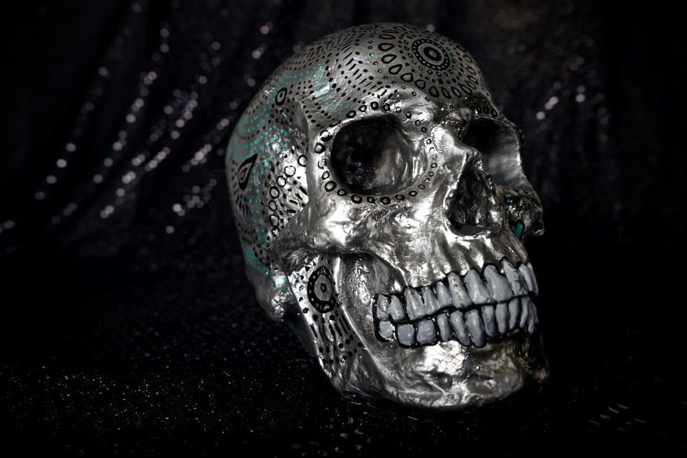 Image of ☠ Silver & Black Custom Skull Piece ☠
