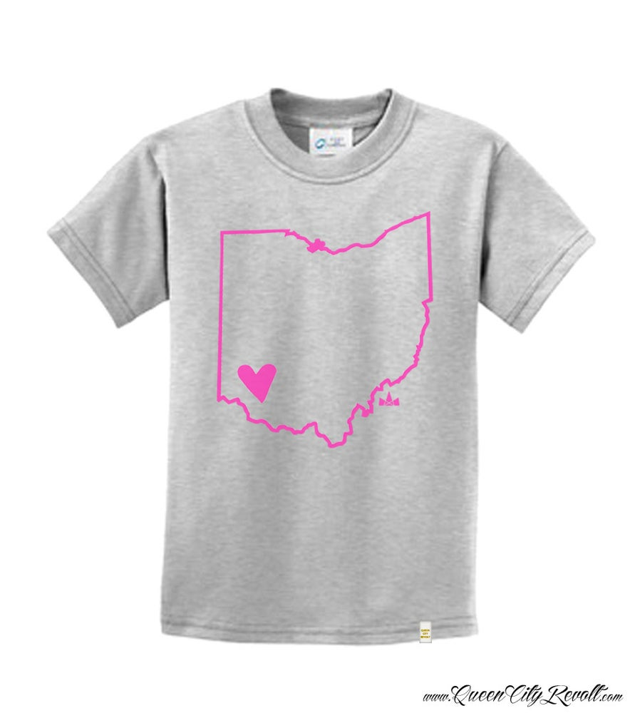 Image of Youth Cincinnati, Ohio Heart, Heathered Grey Tee