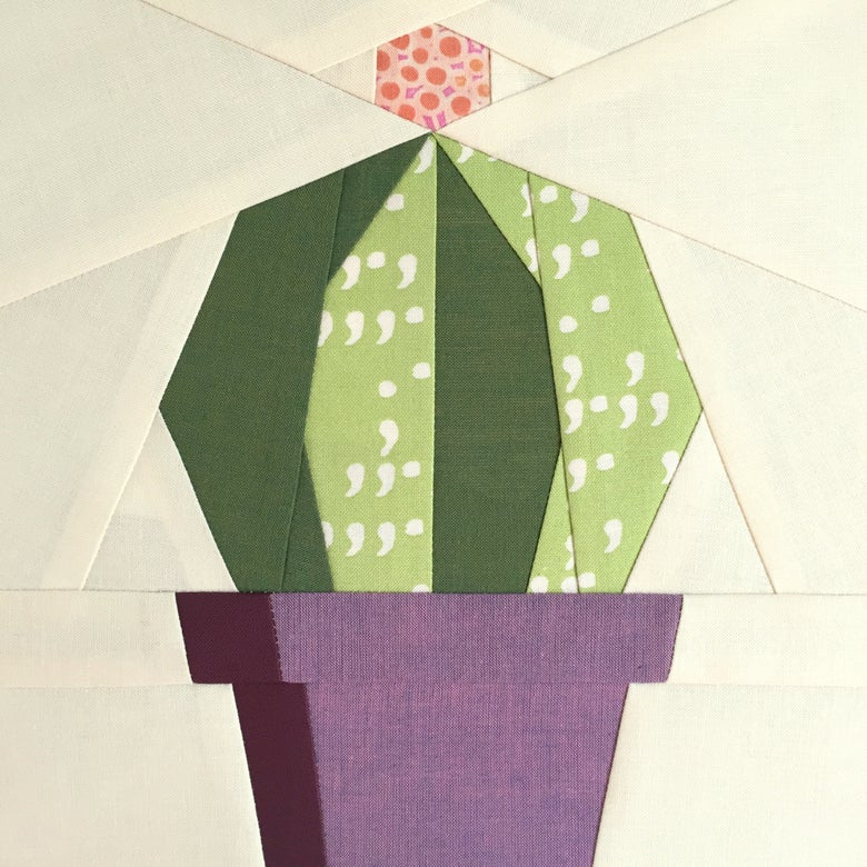 "Image of Echino Cactis Quilt Block Pattern - 8"" x 8"""