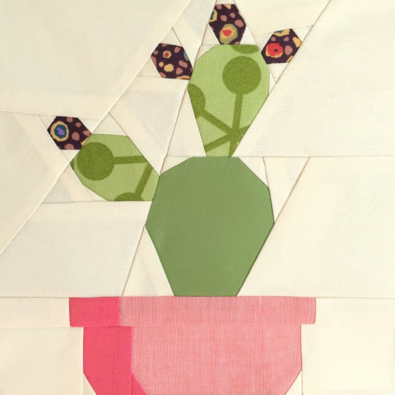"Image of Prickly Cactis Quilt Block Pattern - 8"" x 8"""