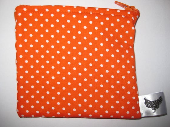 Image of Polka dots on orange (new small pouch)