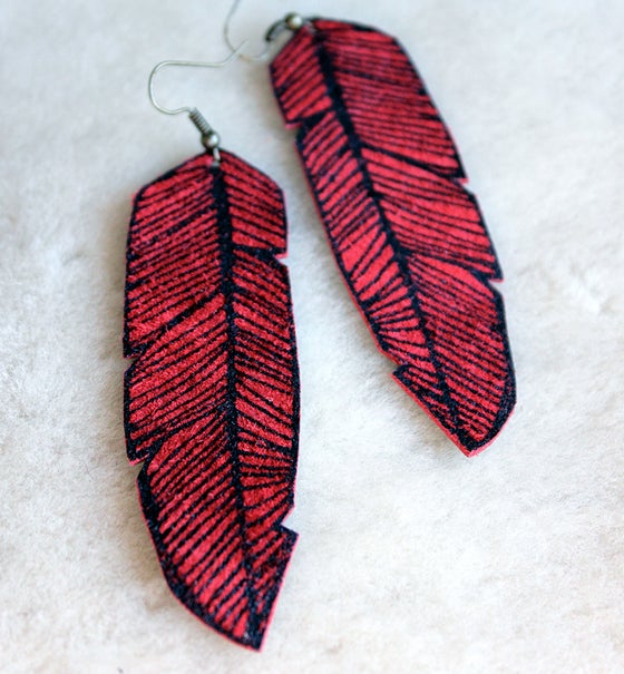 Image of Screen Printed Leather Earrings-Red and Black Feather