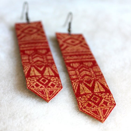 Image of Screen Printed Leather Earrings-Sun Totem