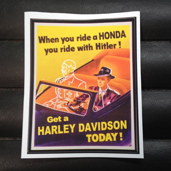 Image of When you ride a Honda you ride with Hitler Harley Sticker