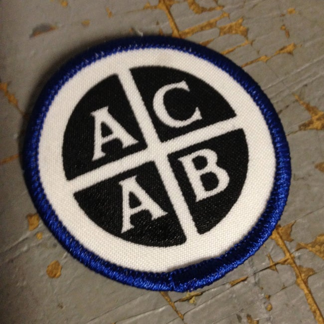 Image of Hand Silkscreened ACAB punk rock patch Iron On A.C.A.B.