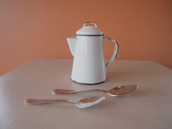 Image of Enamel coated steel coffee pot