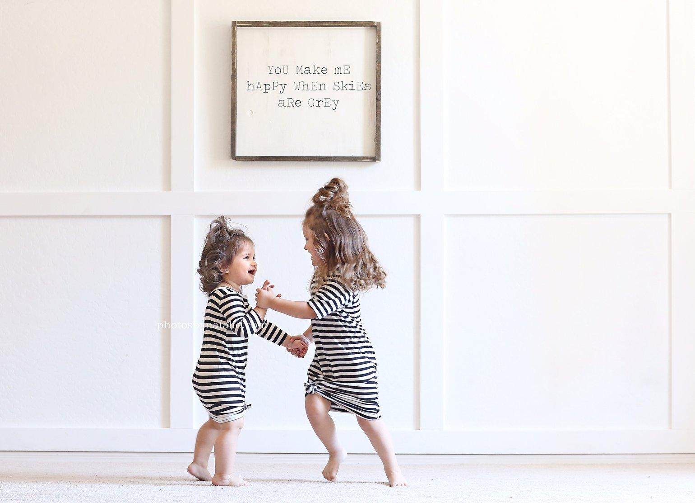 Image of Baby/Girls * Classic Stripe Black/White * Knot Knit Dress