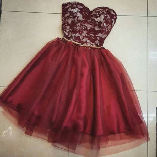 Cute Short Tulle Prom Dress with Lace Applique, Homecoming Dresses, Party Dresses