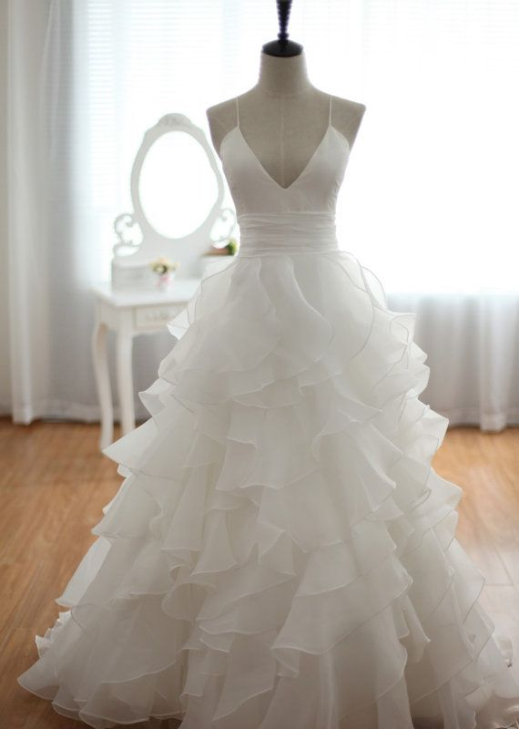 Beautiful White Cross Back Organza Wedding Gowns, Party Gowns 2016
