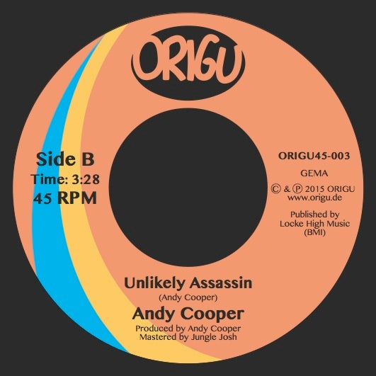 "Image of LAST COPIES!!! Andy Cooper ""Room To Breathe"" b/w ""Unlikely Assassin"" (ORIGU45-003)"