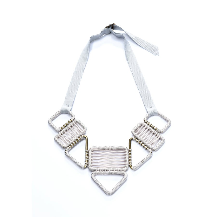 Image of 8 buckle statement woven necklace #944, color 1S or 10B (limestone/silver or carbon/bronze)