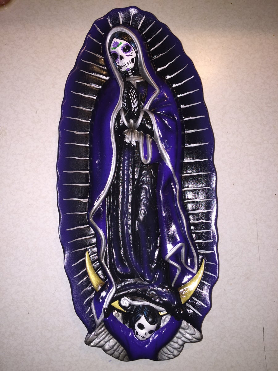 Image of Purple Day of the Dead Ceramic Wall Plaque