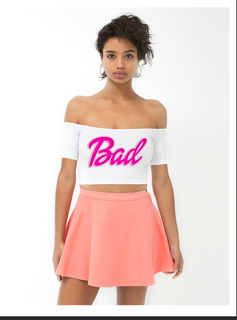"Image of ""BAD"" WHITE CROP TOP"