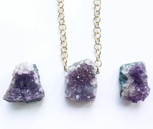Image of Statement Amethyst Necklace - hand cut, gold plated brass chain - 1 left!