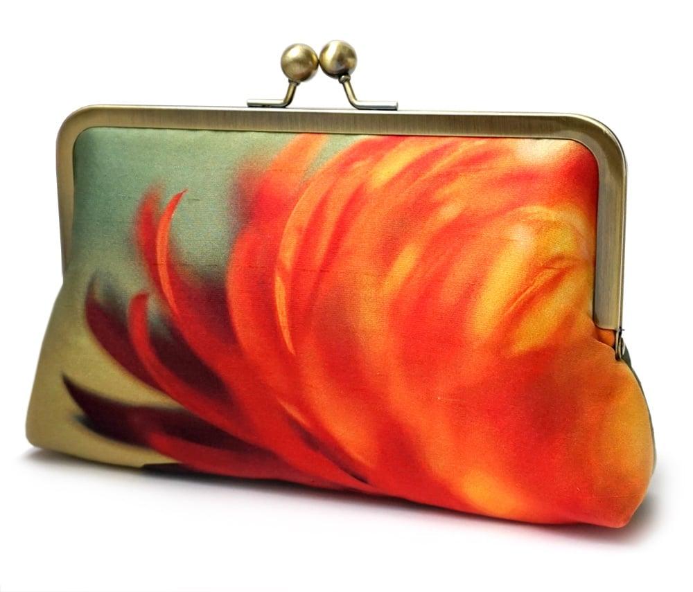 Image of Clutch bag, printed silk purse, orange yellow handbag, FLAME FLOWER