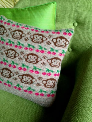 Image of 'Cherry Chimp' cushion pattern