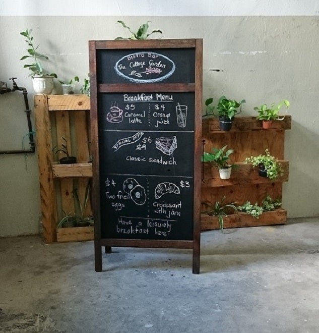 Image of Large Double Sided Standing Chalkboard with Walnut Frame (2 sections)