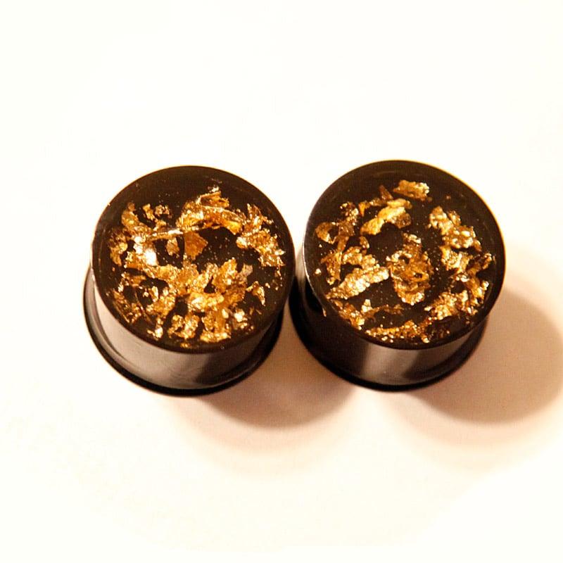 """Image of Black & Gold Flake Plugs (sizes 0g-2"""")"""