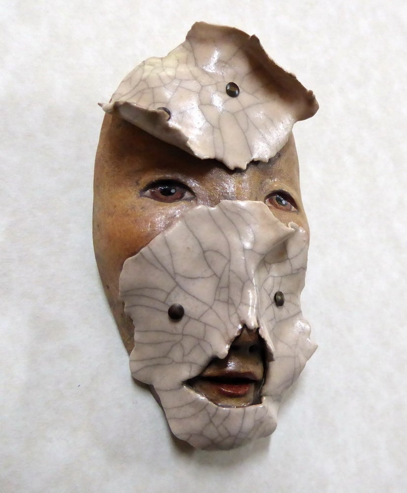 Image of A Crumbling Facade - Raku Mask Sculpture, Original Mask Art, Art to Wear