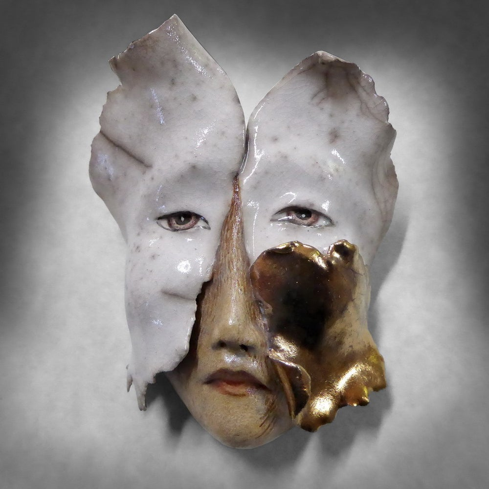 Image of Changes - Raku Mask Sculpture, Original Mask Art, Art to Wear