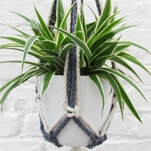 Image of Macramé Plant Hanger - Denim Blue