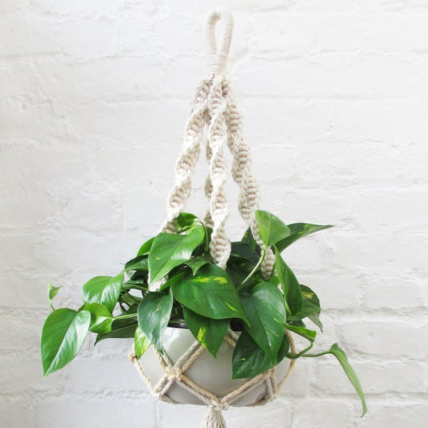 Image of Spiral Macrame Plant Hanger - Peach