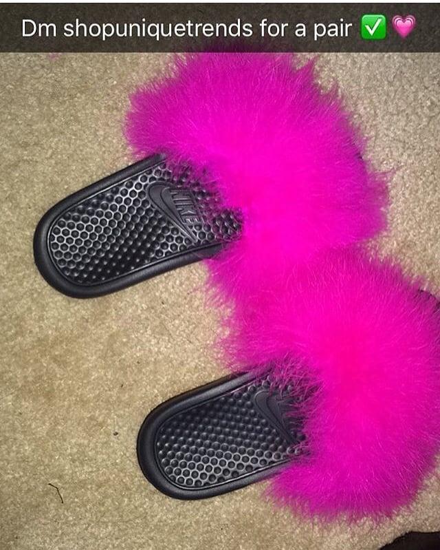 diseño profesional primera vista diseño elegante Nike fur sandals / Shopuniquetrends