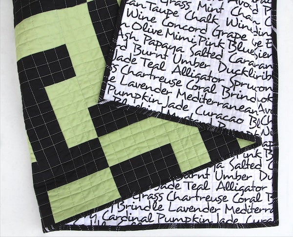 Image of Mixed Up Maze Quilt in Tarragon and Black