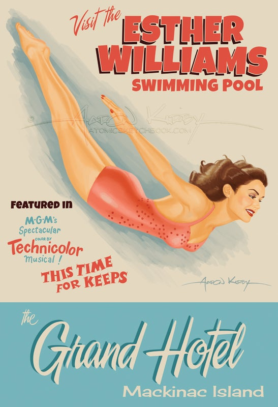 Image of Esther Williams Mackinac travel poster