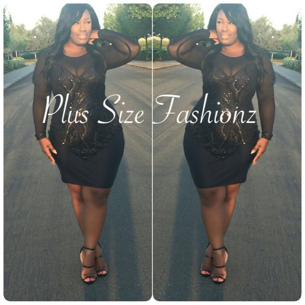 Bustier Sequence Dress - Plus Size Fashionz